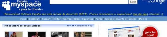 Página en castellano de MySpace.